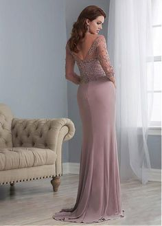 Buy discount Shimmering tulle & Chiffon Bateau Neckline Full Length Sheath/Column Mother Of The Bride Dresses With Beadings at Laurenbridal.com