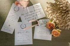Simple but elegant wedding stationery on embossed paper . The calligraphic characters alternating with others simulating an old typewriter, with inclusion of small black and white lithographs,  manage to tell a timeless atmosphere that reigns in Tuscan Maremma location. A pale peach raw silk is tied at the top. #weloveweddingstationary