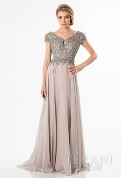 elegant mother of the bride gown with keyhole neckline, shimmering chiffon skirt, and rhinestone and bead embellished cap sleeves and bodice