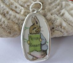 Wedgewood Peter Rabbit Nursery Ware  Bunny Broken China Pendant Chaney Sterling Silver Any Size by MaroonedJewelry on Etsy