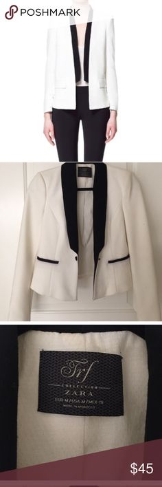 Black + White Zara Blazer Size M Only worn about 3 times! Could also fit a size Small Zara Jackets & Coats Blazers