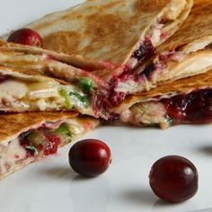 Turkey and Cranberry Quesadillas   - Perfect way to use leftovers !!!