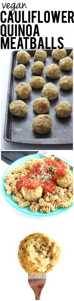 Made from cauliflower and quinoa, these are a wonderful meat-free meatball option! #vegan