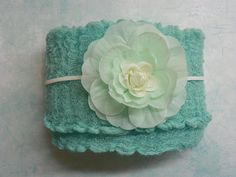 Newborn Teal Cheesecloth Wrap...Baby Wrap...Baby Bows...Photography Prop...Newborn Portrait Prop. $15.00, via Etsy.
