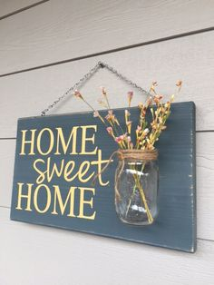 Rustic Outdoor Home Sweet Home/Yellow Wood Signs by RedRoanSigns