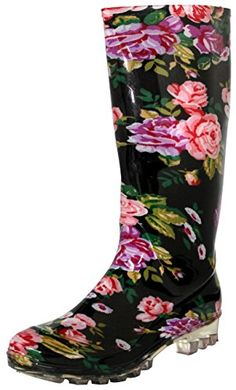 5e78a7c3e Womens Ladies Womens Roses Printed Rain Boots 8     You can get more details