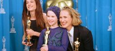 """The article """"Girls on Film: How women were written out of film history"""" (Photo: Actresses Holly Hunter and Anna Paquin with THE PIANO director Jane Campion) - WOMEN IN FILM Girl Film, Anna, History Photos, Historian, Filmmaking, Champion, Cinema, Actresses, Writing"""