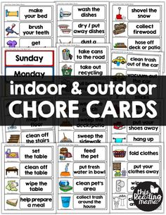 Indoor & Outdoor Visual Chore Cards for Kids These types of cards were what we use to create morning routine charts, chore charts, schedule game boards, and more for our kids thirty years ago. Kids Schedule Chart, Daily Routine Chart For Kids, Morning Routine Chart, Daily Schedule Kids, Morning Routine Kids, Schedule Cards, Chore Chart Kids, School Schedule, Charts For Kids