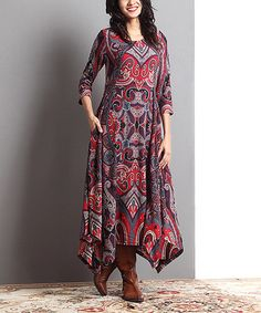 Another great find on #zulily! Red Paisley Handkerchief Maxi Dress #zulilyfinds
