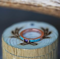 Rose Gold & Amethyst Engagement Ring with Turquoise Inlays. Handcrafted by Staghead Designs.