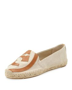 Lonnie Flat Logo Espadrille, Natural Tan by Tory Burch at Neiman Marcus.