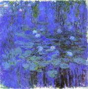 모네 - 파란 수련 1916  파란 연못 위에 떠있는 수련을 묘사한 그림. 수련의 가냘픈 느낌과 파랑이 주는 우울함이 더해져 한없이 약한 느낌을 준다.