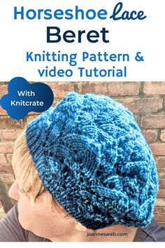 Horseshoe Lace Beret with Knitcrate Lace Knitting Stitches, Hand Knitting Yarn, Circular Knitting Needles, Knitting Videos, Crochet Videos, Thread Crochet, Crochet Yarn, Knitting Projects, Knitting Patterns