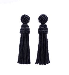 Elegant and beautiful long beaded tassel stud/clip earrings - new brand in fashion jewelry 2016. These earrings made of Czech beads Preciosa. This collection was inspired by designer Oscar De La Renta.  Each piece features original photography. All jewelry items are handmade and one of a kind. Very lightweight! Weight of one earring only 10-16g  The stud in the earrings are very high quality. The stud sterling silver 925 The clip color silver.  Also please choose your prefered LENGHT: 3 ...