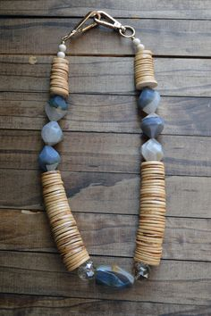 Statement Necklace / Wood Necklace / Agate Necklace / Gifts For Her / Earth Tone Necklace / Luxe Collection / Cartel Necklace on Etsy, $110.00