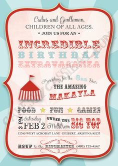Under The Big Top Printable Circus Birthday Invitation Carnival Birthday Parties, First Birthday Parties, Birthday Party Themes, First Birthdays, Birthday Ideas, Circus Carnival Party, Circus Theme Party, Carnival Themes, Circus Birthday Invitations