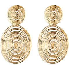 Gas Bijoux 24kt Gold-Plated Wave Large Earrings (500 BRL) ❤ liked on Polyvore featuring jewelry, earrings, accessories, brinco, gold, gold plated jewelry, bohemian jewelry, earring jewelry, bohemian earrings and bohemian style jewelry