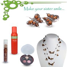 CONFUSED..??? What to gift to your sisters on this Raksha Bandhan Eve... Why not gift them a combo that they will chersih too..  This deal comprises Deborah Trio Hi-Tech Eye Shadow, Multi Chain String Necklace, Bu,tterfly Earrings, Faces Go Chic Lip Gloss- caramelised, Jovan Orange Musk Deo...  So don't wait & get this deal offer: http://khoobsurati.com/khoobsurati/auburn-rakhi-combo-for-all-beautiful-sisters