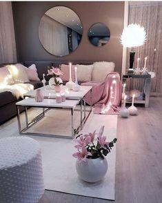 Living room setup grey pink and white colour scheme - - Wohnkultur Ideen - Wohnzimmer Living Room Setup, Living Room Decor Cozy, Living Room Grey, Home Living Room, Apartment Living, Living Room Designs, Cozy Bedroom, Cozy Apartment, Apartment Ideas