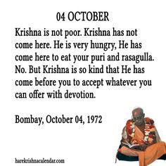 Srila Prabhupada Quotes for 04 Oct 2013 Krishna Leela, Hare Krishna, Religious Quotes, Spiritual Quotes, Radha Krishna Quotes, Krishna Art, Krishna Images, October Quotes, Humanity Quotes