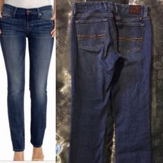 Lucky brand jeans straight stretch 4 / 27 Perfect jeans for every day where medium dark wash straight caught perfect condition size 4/27 regular measure waist 30 inches rise 9 inches inseam 32 inches Lucky Brand Jeans Straight Leg