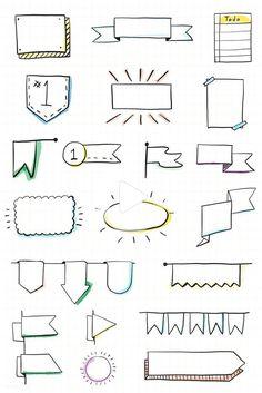 doodle banners / doodle banners - doodle banners how to draw - doodle banners bullet journal - doodle banners hand lettering Bullet Journal Frames, Bullet Journal Headers, Bullet Journal Banner, Bullet Journal Notebook, Bullet Journal School, Bullet Journal Ideas Pages, Bullet Journal Inspiration, Bullet Journal Ribbon, Bullet Journal Vectors