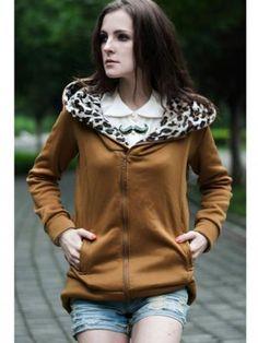 Zanzea Long Leopard Hooded Zipper Coat Black Camel Gray Sweater