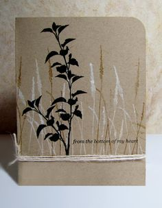 handmade card from The Bald Dragonfly: Nature's Wonder ... kraft ... one layer ... graphic look ... silhouette meadow grass and plant ... twine multi-wrap ... luv it!