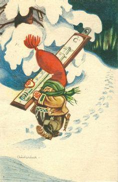 Kjell Aukrust Norway Christmas, Norwegian Christmas, Christmas 2017, Christmas Greeting Cards, Christmas Greetings, Fairy Land, Old Postcards, Folk, Dahl