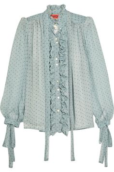 Ronald Van Der Kemp | Ruffled printed silk-chiffon blouse | NET-A-PORTER.COM