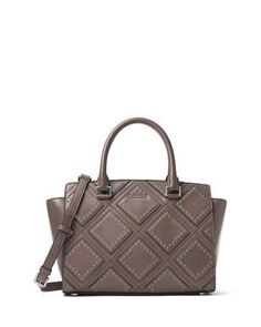 MICHAEL MICHAEL KORS Selma Medium Diamond-Grommet Satchel Bag, Cinder. #michaelmichaelkors #bags #shoulder bags #hand bags #leather #satchel #lining #