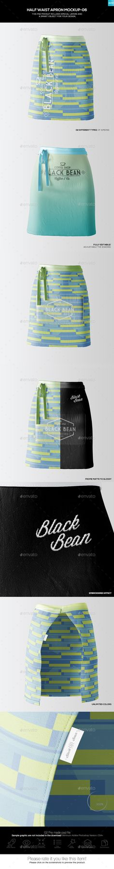 Half Waist #Apron #Mockup-06 - Miscellaneous Apparel Download here: https://graphicriver.net/item/half-waist-apron-mockup06/19478934?ref=alena994