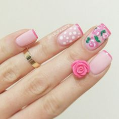 Flowers, dots, pink, nail