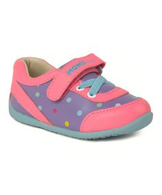 Take a look at this MOMO Baby Purple & Pink Polka Dot Olivia Leather Sneaker today!