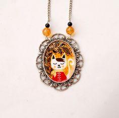Hand-painted Cat Cameo Necklace - original cat illustration pendant - cute cat jewelry