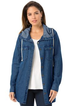 2a3cd89aaa815 Plus Size Hooded Denim Shirt Me Now