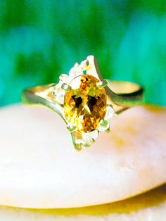 Natural Golden Yellow Topaz and Diamond Ring 14K by StonesandGold