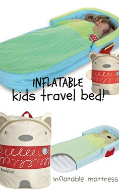 Inflatable kids travel bed ideas - Perfect for vacations, sleepovers, camping, hotel rooms. With the guard around the head area, these can work well as toddler travel bed Toddler Travel Bed, Travel With Kids, Kids Camping Bed, Toddler Camping, Baby Travel, Materiel Camping, Baby Kind, Kid Beds, Sleepover