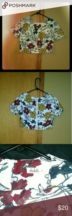 Womens cropped shirt Women's cropped shirt with a cute flower design and zipper up the back Isabella rose taylor Tops