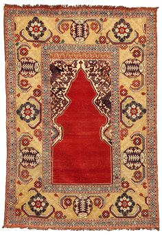 A so-called TRANSYLVANIAN rug of the 'single niche' type, Woven in northwestern Anatolia.17th century.