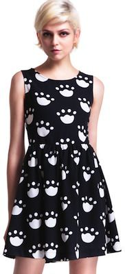 paw prints on a black dress. Even a paw print cutout in the back.