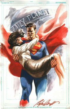 Superman rescuing Lois Lane watercolor illo - Felipe Massafera, in Ivan Costa's DC Comics Comic Art Gallery Room Batman Y Superman, Superman Comic Books, Superman And Lois Lane, Superman Family, Superman Man Of Steel, Comic Book Heroes, Comic Books Art, Comic Art, Superman Artwork