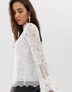3a1da117121 River Island lace blouse in white