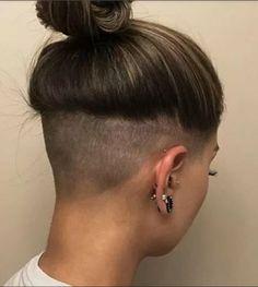 Girl Undercut, Shaved Undercut, Undercut Hairstyles Women, Undercut Long Hair, Undercut Women, Undercut Ponytail, Haircuts, Badass Haircut, Lesbian Hair