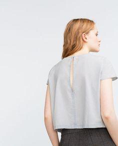 Immagine 4 di TOP CROPPED di Zara Denim Crop Top, Cropped Tops, Zara Tops, Tunic Tops, Blouse, Essentials, Shopping, Image, Collection
