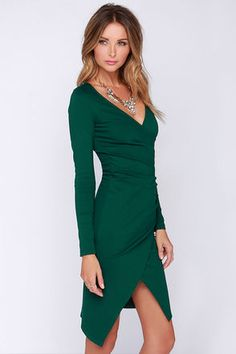 945098bd12 Chic Forest Green Dress - Long Sleeve Dress - Bodycon Dress - Midi Dress -   48.00