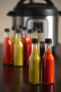 Make homemade hot sauce in your pressure cooker! This Instant Pot Hot Sauce recipe is easy, fast, and tasty with Fresno chilis, garlic, and a smoky note. Pressure Canning Recipes, Pressure Cooker Recipes, Pressure Cooking, Ghost Pepper Sauce, Hot Sauce Recipes, Canned Hot Sauce Recipe, Spicy Sauce, Edible Christmas Gifts, Pots