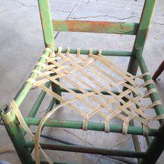 Weaving Rawhide Seat