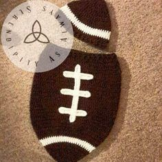 Crochet PATTERN Newborn Baby Football Cocoon and Matching Hat Photo Prop Set digital download .pdf - pinned by pin4etsy.com
