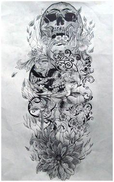 awesome skull ideas | skull sleeve tattoo designs - Popular Tattoo Design by anita